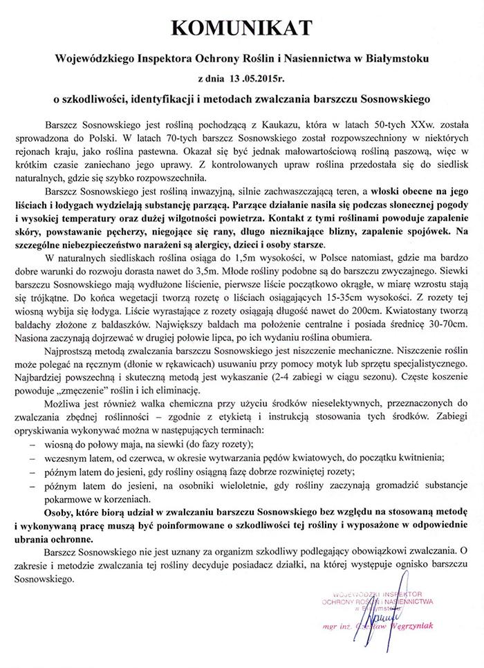 komunikat nt. Barszczu Sosnowskiego